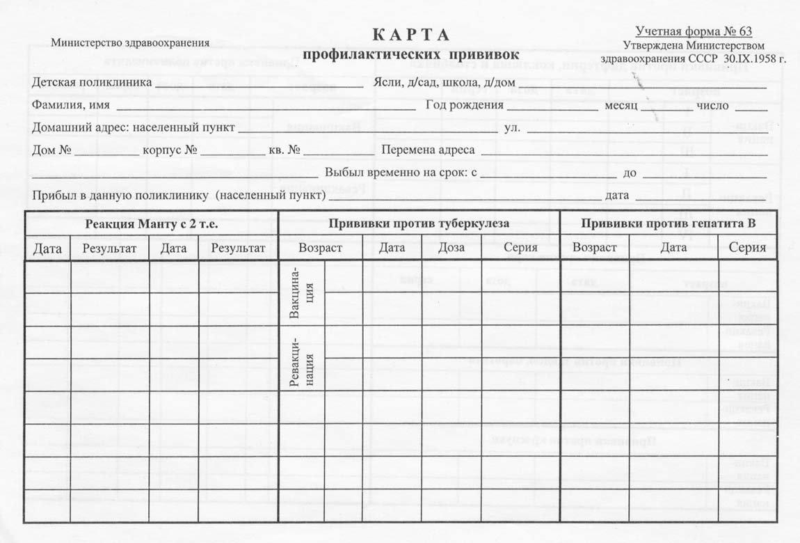 Прививочная карта 063 у Улица Циолковского гастроскопия желудка в балашихе